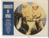 #305 CONQUEST OF SPACE lobby card #6 '55 astronauts repairing!!