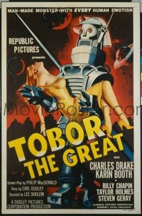 #315 TOBOR THE GREAT linen one-sheet movie poster '54 funky man-made robot!!