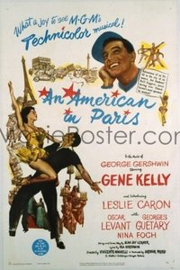 VHP7 436 AMERICAN IN PARIS one-sheet movie poster '51 Gene Kelly, AA award!