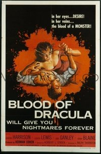 VHP7 281 BLOOD OF DRACULA one-sheet movie poster '57 great female vampire art!