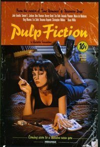 735 PULP FICTION recalled advance 1sh '94 Quentin Tarantino, Uma Thurman smoking Lucky Strikes!