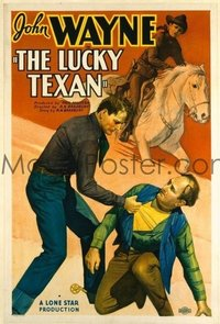 t179 LUCKY TEXAN linen one-sheet movie poster '34 fighting John Wayne!