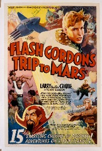 669 FLASH GORDON'S TRIP TO MARS linen, signed by Buster Crabbe 1sheet