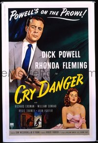 #115 CRY DANGER 1sh 51 Dick Powell, film noir
