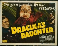 #086 DRACULA'S DAUGHTER title lobby card R49 cool girl & bat image!!