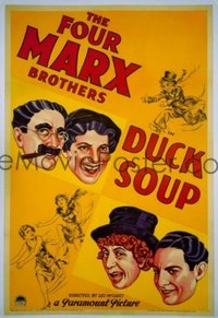 537 DUCK SOUP ('33) paperbacked, signed by Groucho 1sheet
