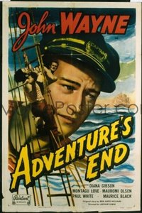 JW 136 ADVENTURE'S END one-sheet movie poster R49 sea captain John Wayne!