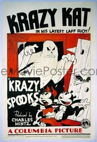v328 KRAZY SPOOKS linen 1sh '33 Krazy Kat cartoon