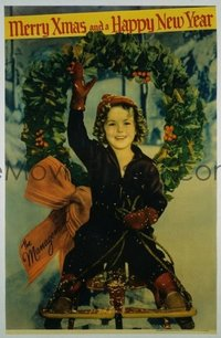 234 MERRY XMAS & A HAPPY NEW YEAR linen 1sh '34 Shirley Temple wishing you happy holidays!