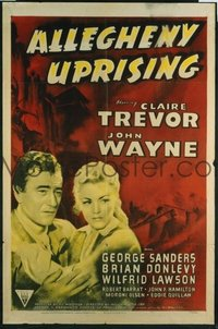 JW 166 ALLEGHENY UPRISING one-sheet movie poster R52 John Wayne, Claire Trevor