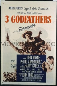 JW 241 3 GODFATHERS one-sheet movie poster R62 John Wayne and John Ford