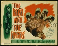2033 BEAST WITH FIVE FINGERS title lobby card '47 cool grabbing hand!