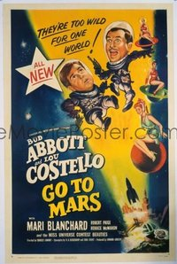 VHP7 100 ABBOTT & COSTELLO GO TO MARS linen one-sheet movie poster '53 sci-fi!