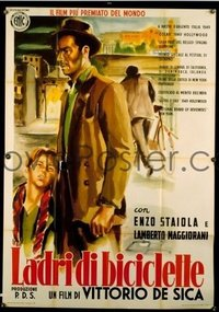 #134 BICYCLE THIEF linen Italian 1p R55 Vittorio De Sica's classic Ladri di biciclette, great art!