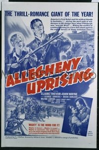 JW 167 ALLEGHENY UPRISING military one-sheet movie poster R57 John Wayne