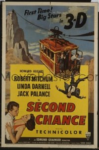 #063 2nd CHANCE 1sh '53 3D Mitchum, Palance
