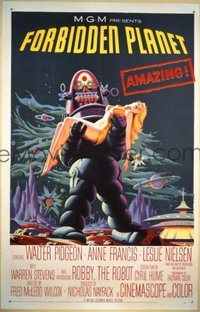 v119 FORBIDDEN PLANET linen 1sh '56 Robby the Robot!