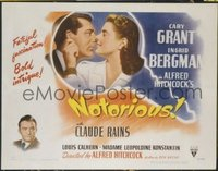 #215 NOTORIOUS style A half-sheet movie poster '46 Cary Grant, Bergman!