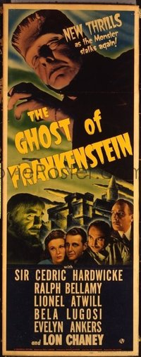 #001 GHOST OF FRANKENSTEIN insert movie poster '42 Lon Chaney Jr.!