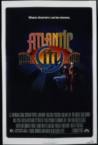 ATLANTIC CITY 1sh '81 Burt Lancaster, cool Huerta art of New Jersey gambling town!