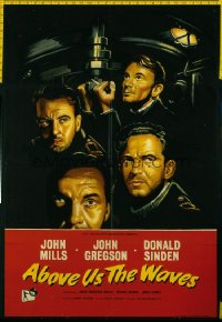 ABOVE US THE WAVES English 1sh '56 John Mills & English WWII sailors at periscope in sub!