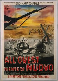 ALL QUIET ON THE WESTERN FRONT Italian 2p R60s Lewis Milestone WWI classic, different art!