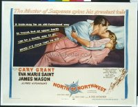 #008 NORTH BY NORTHWEST style B 1/2sh '59 Cary Grant kissing Eva Marie Saint, Alfred Hitchcock classic!