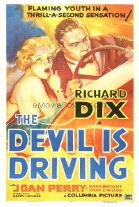 232 DEVIL IS DRIVING linen 1sh '37 classic colorful art of crazed couple driving at high speed!