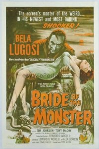v206 BRIDE OF THE MONSTER linen 1sh '56 Ed Wood, Lugosi