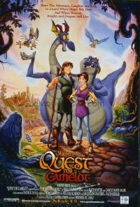 4678 QUEST FOR CAMELOT DS advance cast style one-sheet movie poster '98