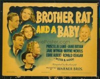 1126 BROTHER RAT & A BABY title lobby card '40 Ronald Reagan, Wyman