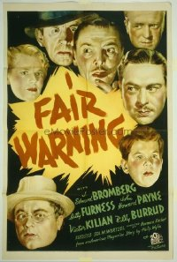 086 FAIR WARNING 1sh '37 J. Edward Bromberg, Betty Furness & John Payne!