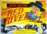 340 RED RIVER British quad R50s great artwork of John Wayne, Montgomery Clift, Howard Hawks