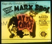VHP7 166 AT THE CIRCUS glass lantern coming attraction slide '39 The Marx Brothers!