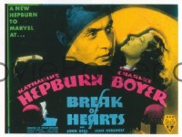 VHP7 217 BREAK OF HEARTS glass lantern coming attraction slide '35 Katharine Hepburn
