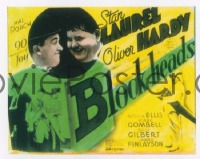 VHP7 175 BLOCK-HEADS glass lantern coming attraction slide '38 Laurel & Hardy, Roach!