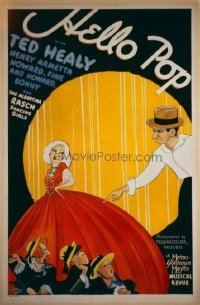 232 HELLO POP linen 1sheet with Al Hirchfeld art