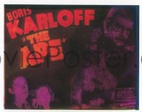 VHP7 121 APE glass lantern coming attraction slide '40 Boris Karloff, horror!