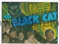 VHP7 122 BLACK CAT glass lantern coming attraction slide '41 Bela Lugosi, Rathbone
