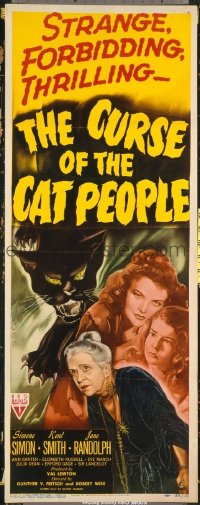 #111 CURSE OF THE CAT PEOPLE insert movie poster '44 Simone Simon!