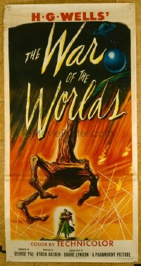 #309 WAR OF THE WORLDS three-sheet movie poster '53 classic sci-fi image!!