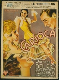#197 FLYING DOWN TO RIO linen 1st Belgian release movie poster '36!