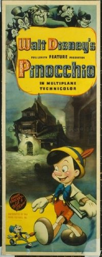 VHP7 052 PINOCCHIO insert movie poster '40 rare size, great image!