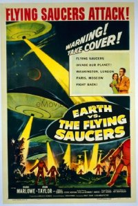 #316 EARTH VS THE FLYING SAUCERS one-sheet movie poster '56 sci-fi classic!!