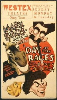 v297 DAY AT THE RACES  mini WC '37 Marx Bros, Hirschfeld