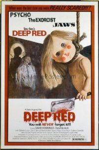 #382 DEEP RED one-sheet movie poster '75 Dario Argento, wild creepy image!!