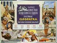 #352 CLEOPATRA British quad movie poster '64 Liz Taylor, Burton!