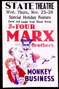 VHP7 014 MONKEY BUSINESS paperbacked window card movie poster '31 Marx Brothers