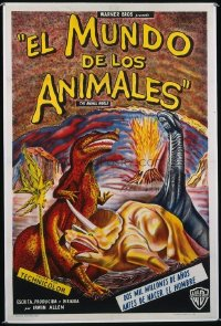 1014 ANIMAL WORLD linenbacked Argentinean movie poster '56 cool dinosaurs!