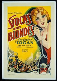 VHP7 011 STOCKS & BLONDES linen one-sheet movie poster '28 great stone litho!